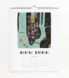 Map research | 2013 Cities Calendar | Rifle paper