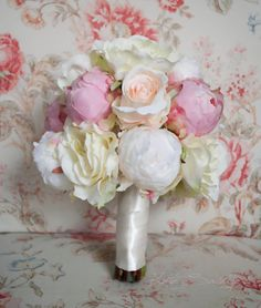 Peony and Rose Wedding Bouquet  Ivory and Blush by KateSaidYes, $125.00
