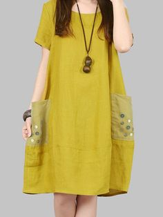 Casual Pocket Button Decorate Short Sleeve O-neck Dress For Women