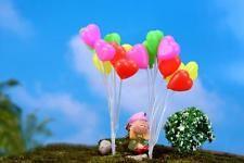 Colorful 8 Heart Balloons Garden Moss Miniature Craft Micro Landscape Decor