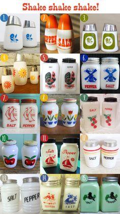 Vintage milk glass salt 'n pepper shaker sets. Oh So Lovely Vintage: Shaker style.