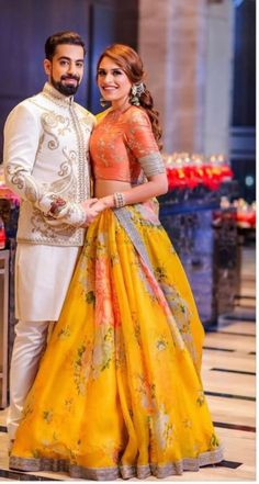 Gorgeous yellow and orange lehenga for mehendi. See more on Indian Bridal Outfits, Indian Designer Outfits, Engagement Dress For Bride, Indian Engagement Outfit, Engagement Lehnga, Mehndi Outfit, Sangeet Outfit, Lehnga Dress, Lehenga Designs