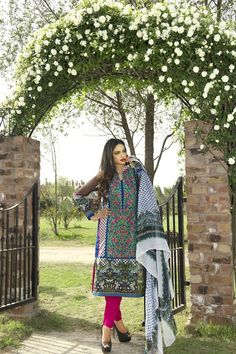 Show details for Garden Green and Hot Pink Lawn Kameez with Trousers