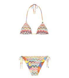 Missoni Mare - Reversible crochet-knit bikini set - Stay the centre of attention by the poolside with Missoni Mare's rainbow-hued bikini set. This reversible style features the label's signature crochet-knit striping on one side, and a playful colour print on the other. The halter-style look will layer easily under our favourite sundresses for walks to lunch. seen @ www.mytheresa.com