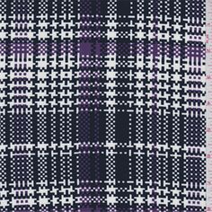 Dark navy blue, ivory and purple plaid print. This soft, lightweight nylon fabric has stretch.Compare to $10.00/yd