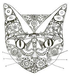 cat mask to color ...coloriage un masque de chat