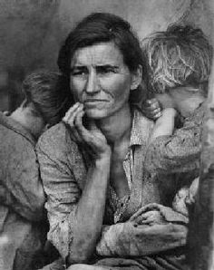 """The Migrant Mother. California 1936. Dorothea Lange.     """"When Dorothea took that picture, that was the ultimate. She never surpassed it.  To me it was the picture  of Farm Security. She has all the suffering of mankind in her, but all the perserverance too.  A restraint and a strange courage."""" - Stryker"""