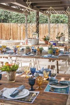 HOORAY! Mag | Jacquelyn's So Cal Baby Shower | Baby Shower Theme | Baby Shower Inspiration | Party Styling Inspiration | Dessert Table | Cali Themed Baby Shower | Light Blue Baby Shower | Table Styling | Geo Decorations | Blue Table Setting | Gold and Brass | Cactus