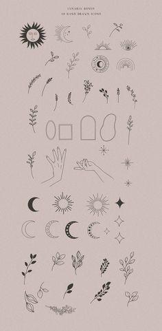 Cute Tiny Tattoos, Dainty Tattoos, Mini Tattoos, Line Art Tattoos, Tiny Sun Tattoo, Boho Tattoos, Wiccan Tattoos, Indian Tattoos, Hand Logo
