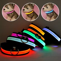 Collar de Nylon Para Perros Mascotas LED Nocturna de Seguridad Collar del Gato del Perro del Resplandor Que Destella Led Luminosos Pequeños Perros Collares USB Recargable