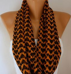 #Orange #Black #Heart Print #Infinity Chiffon #Scarf #halloween #pumpkin by fatwoman