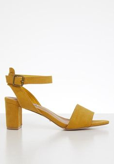 Ava block heel - mustard yellow Madison® Heels | Superbalist.com Mustard Yellow, Ava, Block Heels, Open Toe, Ankle Strap, Heeled Mules, Two By Two, Shoes, Zapatos
