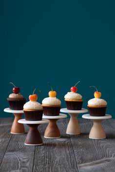 Mini Cake Stand Modern Cupcake Stand 4 inch in Walnut, Maple and Cherry by AHeirloom