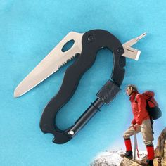 High Quality 5 In 1 Outdoor Survival Steel Camping Climbing Multifunctional Knife Screwdrivers Carabiner drop Shipping Edc Tools, Survival Tools, Camping, Hiking Supplies, Climbing Carabiner, Female Urinal, Tactical Pen, Escalade, Stainless Steel Wire