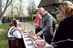 Charles was seen browsing a stall selling painted Easter eggs at the museum - after he was awarded The Order of the Star of Romania, Romania's highest civilian order, last night