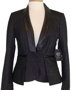 NEW Vince Camuto Jacket Peplum Blazer Metallic Knit Vegan Leather Black 4 $199 #VinceCamuto #Blazer