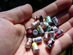 miniature pop cans
