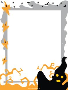 This free, printable, Halloween border features spooky, orange ghosts and flapping, black bats. Free to download and print.