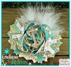 anchor, anchor hair bows, sea, ocean, ocean hair bows, stacked bows, big hair bows, bling, shop with attitude, MAAD Bowtique