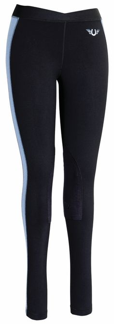 TuffRider Ladies Ventilated Schooling Tights, available in Black w/ Charcoal