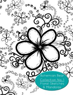 22 pages of floral sketches and mandalas for you to print and color to your…