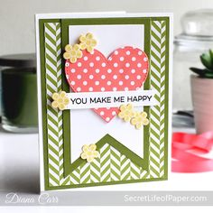 Handmade Heart Card MFT Stamps My Favorite Things More Essential Sentiments, Stitched Heart Die-namic