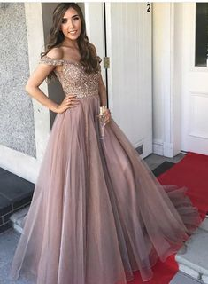 Gorgeous Prom Dresses,Off the Shoulder Prom Gown,Brown Prom