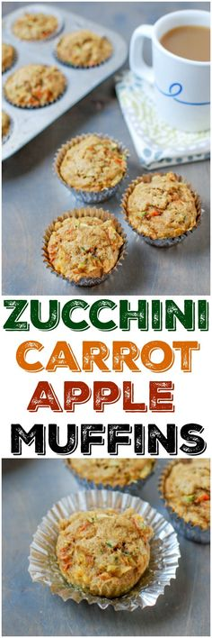 Healthy Snacks This recipe for Zucchini Carrot Apple Muffins packed with fruits and vegetables and is just lightly sweetened, making them perfect for breakfast or a snack! Healthy Muffin Recipes, Baby Puree Recipes, Healthy Muffins, Healthy Baking, Baby Food Recipes, Healthy Snacks, Breakfast Recipes, Cooking Recipes, Breakfast Ideas