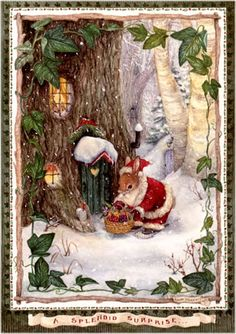 By Susan Wheeler Christmas Scenes, Noel Christmas, Christmas Greetings, Christmas Crafts, Xmas, Illustration Noel, Christmas Illustration, Illustration Animals, Illustrations