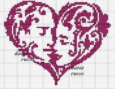 Couple heart x-stitch
