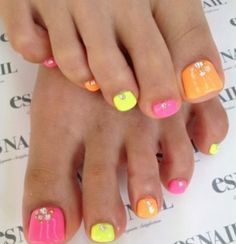 Super cute pedi - pink, orange and yellow toenails