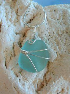 Beautiful aqua genuine sea glass pendant #sea glass beads & #sea charms: http://www.ecrafty.com/c-780-sea-glass-beads.aspx?pagenum=1===newarrivals=60