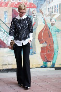 Jazzing up lace with white and leopard print. Love all Angie's style choices. Yep, I have a girl crush here. Cool Outfits, Casual Outfits, Fashion Outfits, Womens Fashion, Fashion Weeks, Winter Looks, Everyday Fashion, Autumn Winter Fashion, Mantel