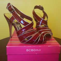 Red Leather Heels Red Leather heels BCBGirls Shoes Heels