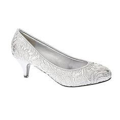 Silver Low Heel Lace Court Shoe - bridal shoes - shoes - Wedding - BHS