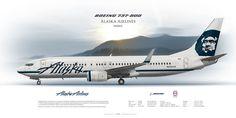 Boeing 737-800 Alaska Airlines N528AS | Airliner Profile Art Prints | www.aviaposter.com | #airliners #aviation #jetliner #airplane #pilot #aviationlovers #avgeek #jet #b737 #alaska