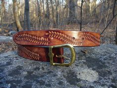 Hand Tooled Leather Belt by BobLealLeather on Etsy