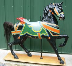 Ca. 1900 Dentzel Stander - $16,000 Outside row. Solid horse, protected in layers of thick in park paint.