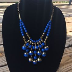 """The Limited Statement Bead Necklace Bright blue and gold necklace purchased from The Limited. Worn twice. About 10"""" long and extends to 12"""". I offer bundling as well. The Limited Jewelry Necklaces"""