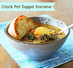 This slow cooker Zuppa Toscana is pure rustic comfort food. filled with sausage kale potatoes tomatoes and a bit of cream. Crock Pot Soup, Crock Pot Slow Cooker, Crock Pot Cooking, Slow Cooker Recipes, Crockpot Recipes, Soup Recipes, Cooking Recipes, Yummy Recipes, Recipies