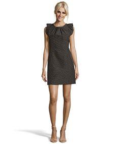 Shoshanna Black And Gold Ruffle Cap Sleeve Shift Dress