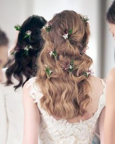 """See the """""""" in our 5 Wedding Hairstyle Ideas From the Spring 2016 Bridal Shows That Play With Texture gallery Diy Wedding Updos, Simple Wedding Hairstyles, Cool Hairstyles, Hairstyle Ideas, Bridesmaid Hair Half Up, Wedding Hair Half, Bridal Hair, Dress Wedding, Wedding Bride"""