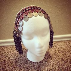 Mucha Inspired Burgundy Headdress- Art Deco, Gatsby, Tribal Fusion, Bellydance, Headpiece, Wedding, Sparkly, Tribal Coins, ATS
