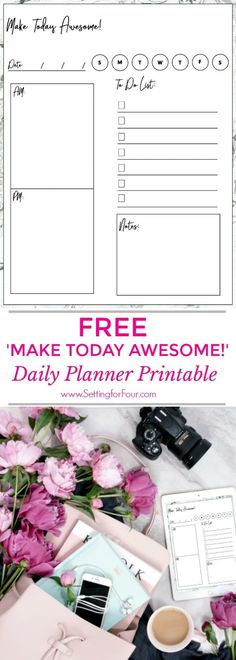 Get your  'MAKE TODAY AWESOME!' FREE DAILY PLANNER PRINTABLE to organize and plan each day of the year!! Simple and straightforward, this one-page printable daily planner page makes it easy and fun to plan out your day! This daily planner is for adults, teens and kids! #freebie #planner #printable #organization