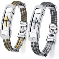 Titanium steel wristband for man Three rows of steel wire knitting Intergold cross bracelet-Color SteelColor