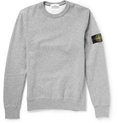 Stone Island Fleece-Backed Cotton Jersey Sweatshirt   MR PORTER