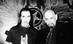 """Marilyn Manson & the late Anton Szander LaVey. La Vey was the founder of The Church of Satan in California. He authored The Satanic Bible and played the part of the devil in Polanski's """"Rosemary's Baby""""."""