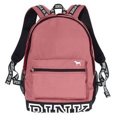 Victoria's Secret PINK Campus Backpack Soft Begonia ($103) ❤ liked on Polyvore featuring bags, backpacks, red bag, rucksack bags, day pack backpack, victoria secret bag and victoria's secret