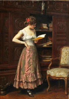 Dufaux, Frédéric (b,1852)- Woman Reading, Standing: