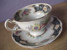 Art Nouveau tea cup and saucer set, vintage Royal Standard bone china set, English, pink rose, yellow flower